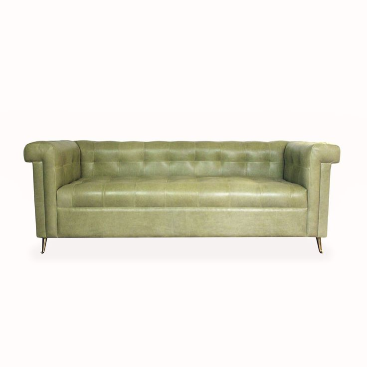 Beautiful Old Green Leather Sofa Hand Made Bespoke Design By Chelsea  Upholstery