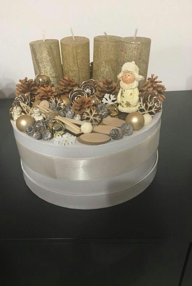 Nagy arany doboz   / advent   karácsony  koszorú  gyertya   egyedi  saját készítésű  ünnep   hópehely  toboz  angyal  gömb/