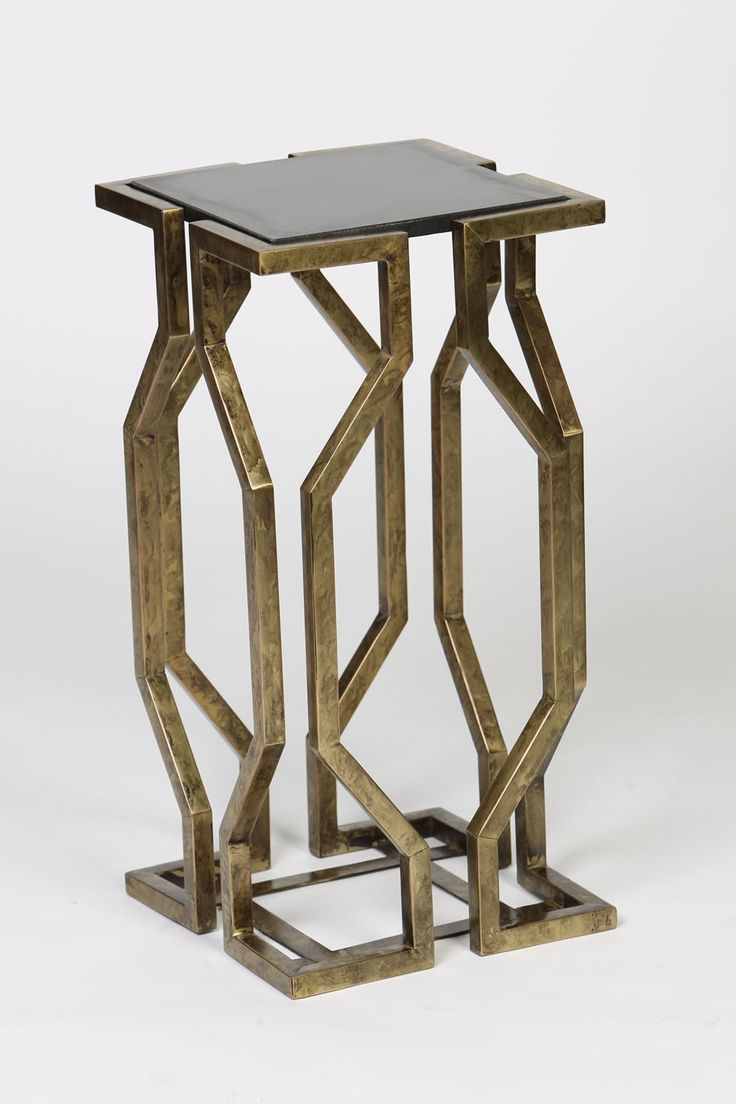 Fresh Open Geometric Form Accent Table in Antique Brass Finish with Granite Top