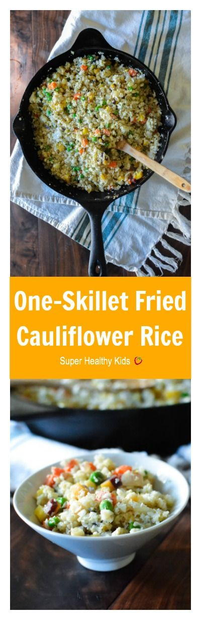 One-Skillet Fried Cauliflower Rice. Fried Rice without the Rice?!? You will love what we used instead! http://www.superhealthykids.com/one-skillet-fried-cauliflower-rice/