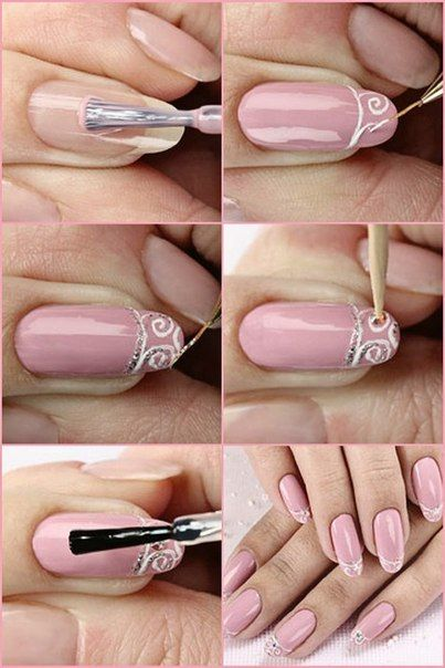 Romantic nail ideas! White French Tip Style manicure natural, free hand nail art, swirls