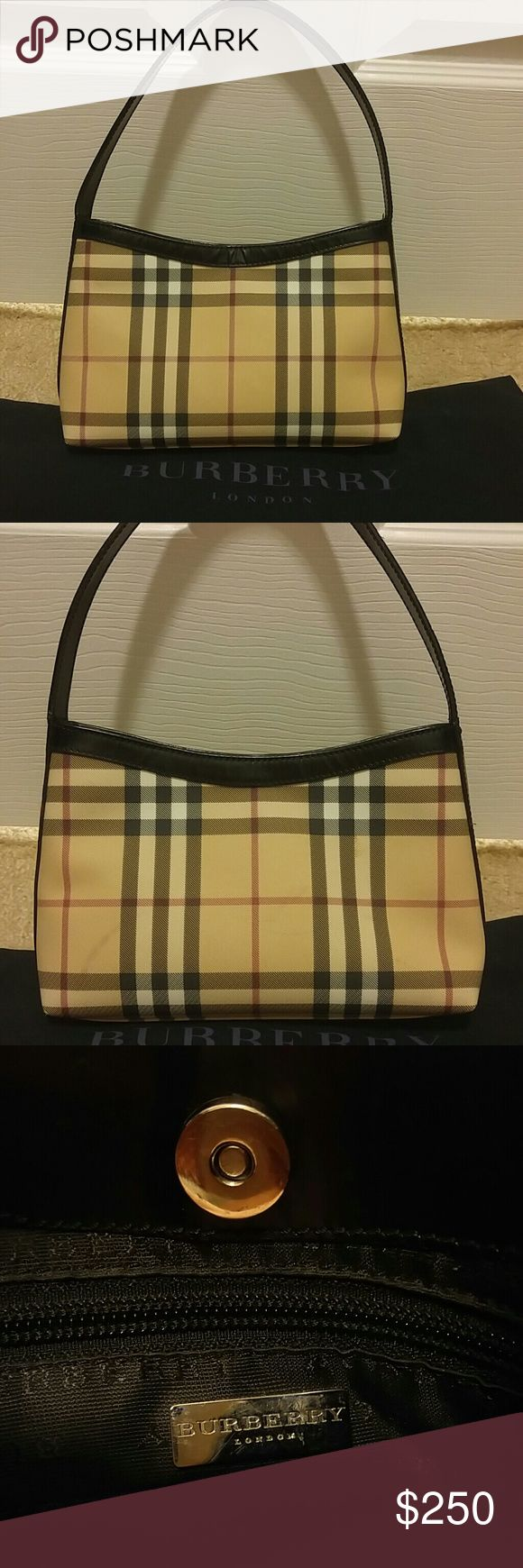 AUTHENTIC SMALL BURBERRY BAG Gorgeous Burberry tote complete with original dust bag. Scuff marks are shown in photos and price reflects the gently loved condition of the bag. This tote measures 10 in. X 5.5 in. Treat yourself.  :) Burberry Bags Totes