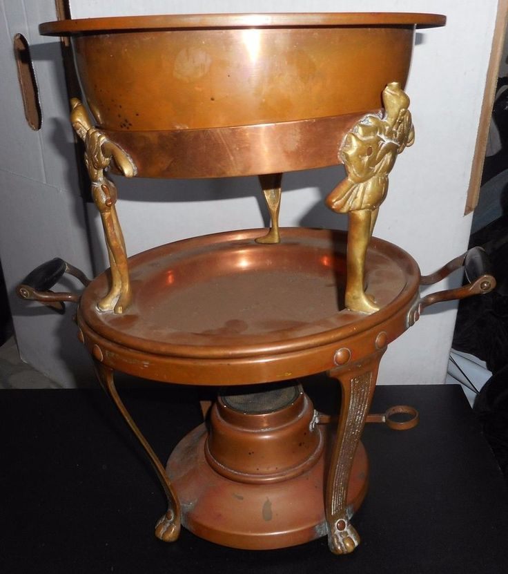 "VICTORIAN Arts & Crafts circa 1900 Copper chafing dish with Court Jesters 14"" T #Unknown"