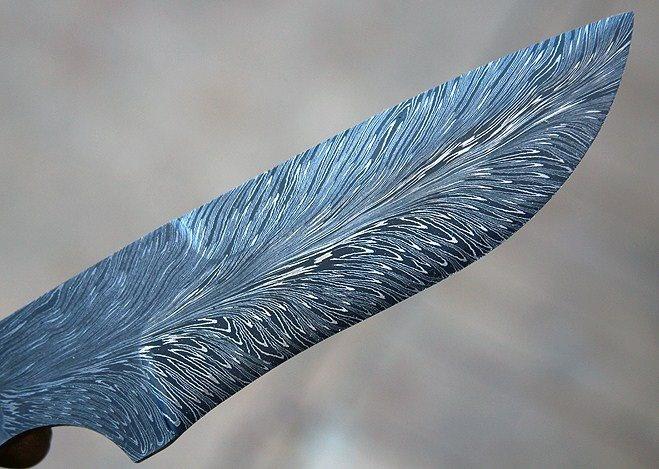 Feather Damascus Blade Custom Knife Folder Pocket