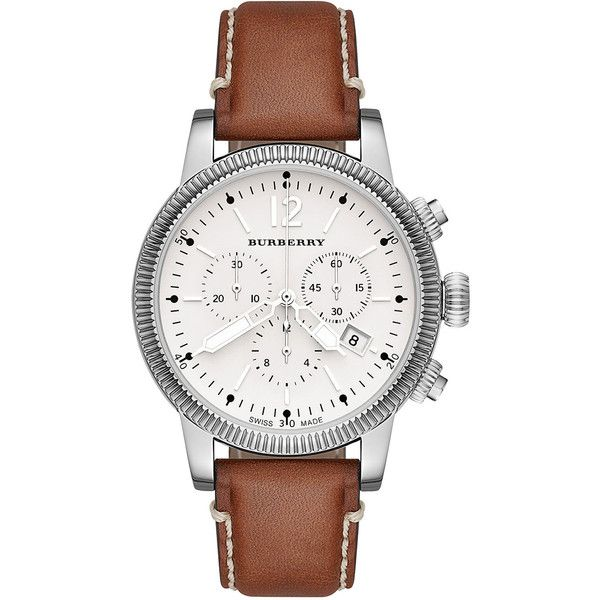 Burberry 42mm Leather-Strap Chrono Watch (€670) ❤ liked on Polyvore featuring men's fashion, men's jewelry, men's watches, mens leather strap watches, burberry mens watches, mens chronograph watch, mens watches and mens white dial watches