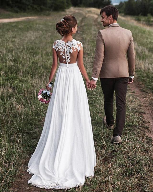 Lovely Lace Appliques Cap Sleeves Long Chiffon Split Beach Wedding Dresses 2019
