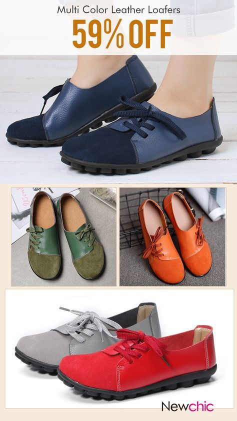 61506d8a9af08 【59% off】Large Size Women Casual Soft Lightweight Splicing Leather Lace Up  Flats Loafers.#loafers #flats #womenshoes