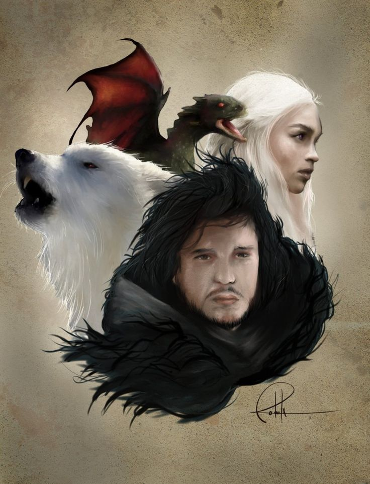 Jon and Ghost with Daenerys and Drogon