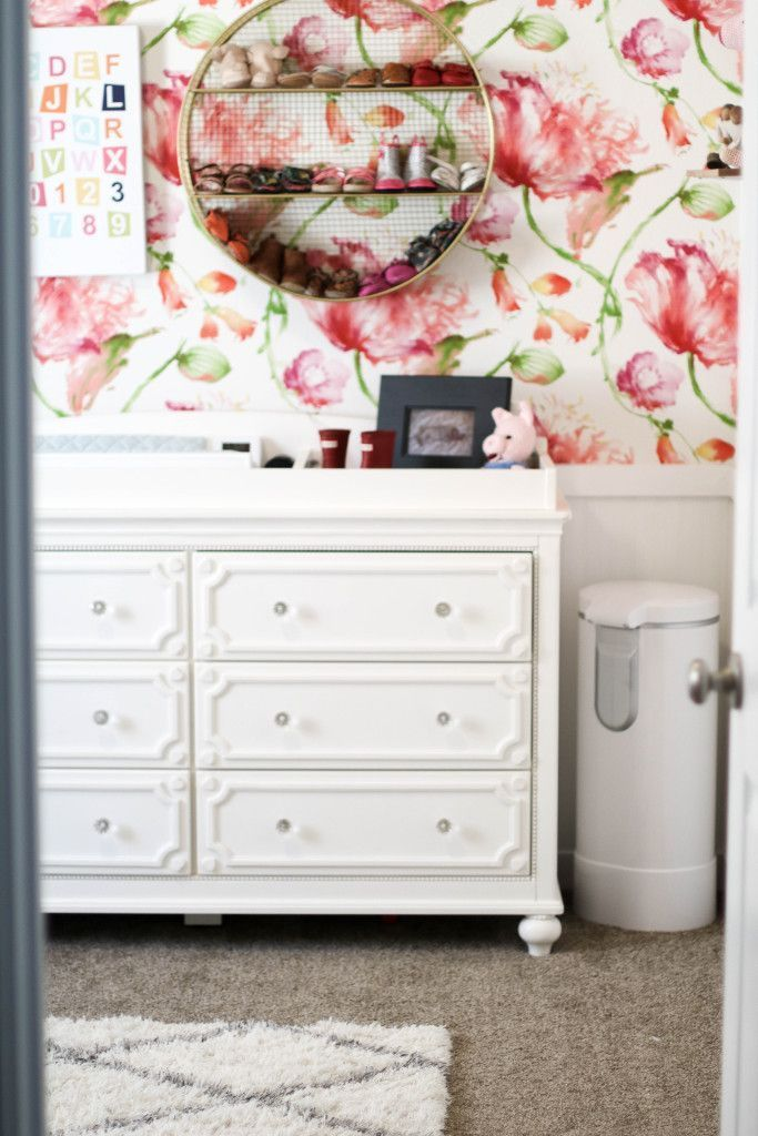 girl nursery | floral nursery | floral wallpaper | nursery wallpaper | nursery idea | nursery decor | home decor | baby girl room | baby room decor
