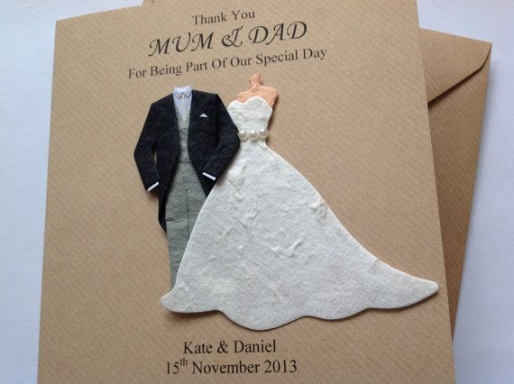 Personalised Handmade Thank You Mum And Dad Wedding Card Comes With A Lovely 3d Bride