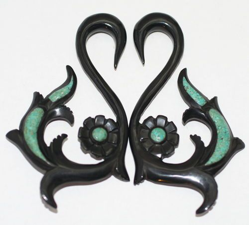 Black Horn Turquoise Organic Tribal Hanger Ear Tapers Plugs Gauges Spirals 2G 4G | eBay