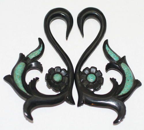 Black Horn Turquoise Organic Tribal Hanger Ear Tapers Plugs Gauges Spirals 2G 4G | eBay