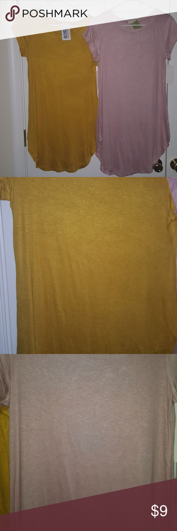 NWT, Occasion T-SHIRT DRESS BOTH SHIRTS FOR SALE IN ONE PACKAGE NWT, Occasion T-SHIRT KNIT DRESS Size Juniors Large Colors: Rose Gold and Gold/Yellow/Orange  Smoke free and Pet free home!! Occasion Tops