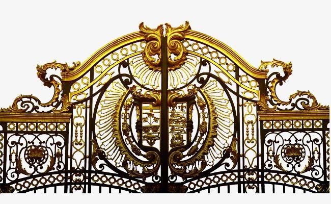 European Iron Gate Iron Gate Yellow Design Png Transparent