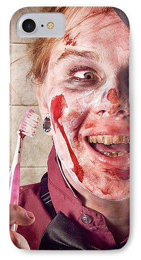 Zombie at Dentist IPhone 7 Case featuring the photograph Zombie At Dentist Holding Toothbrush. Tooth Decay by Jorgo Photography - Wall Art Gallery
