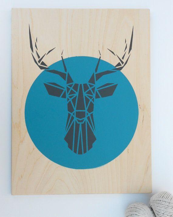Cabeza de venado grande en madera contrachapada, arte hecho a mano de la plantilla, geométricas, Origami ciervo, Arte Original