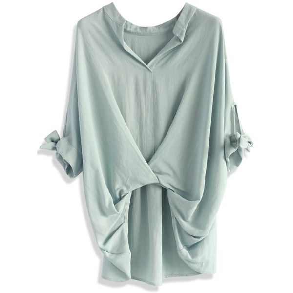 Chicwish Casual Twist Smock Top in Lavender ($36) ❤ liked on Polyvore featuring tops, blouses, shirts, grey, shirt blouse, batwing shirt, cotton button shirt, button blouse and grey blouse