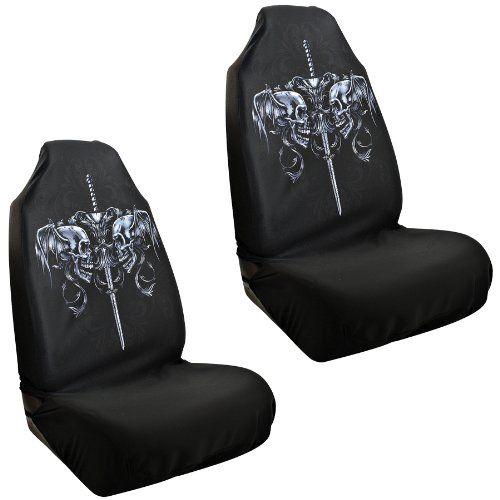 Skull Car Seat Covers Skull Sword Pair Skeleton Xray