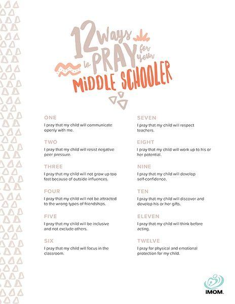 prayer for my middle schooler