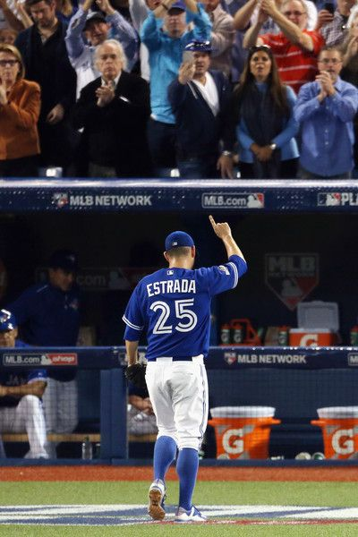 Marco Estrada Photos - Marco Estrada #25 of the Toronto Blue Jays reacts as he leaves the game with the lead in the eighth inning against the Kansas City Royals during game five of the American League Championship Series at Rogers Centre on October 21, 2015 in Toronto, Canada. - League Championship - Kansas City Royals v Toronto Blue Jays - Game Five
