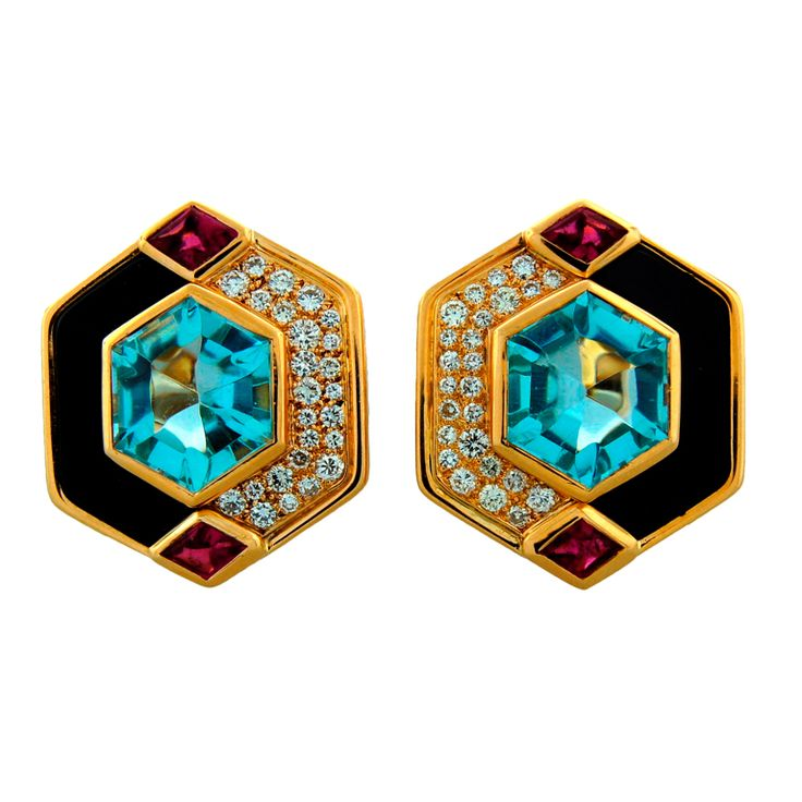 MARINA B Aquamarine, Black Onyx, Diamond, Ruby & Gold Earrings