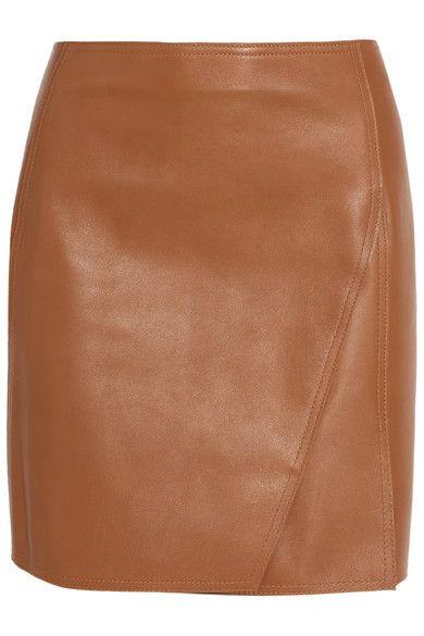 leather miniskirt - caramel color