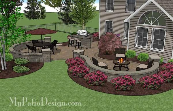 """670 sq. ft. of Outdoor Living Space. Curvy Design Creates Beautiful Areas for Outdoor Dining, Grilling and Fire Pit with Seating. 24"""" Tall Sea"""