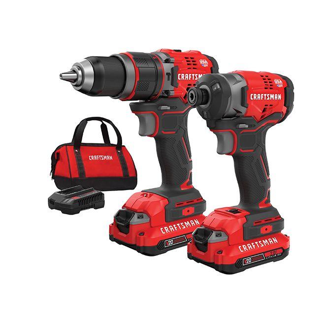 Craftsman Cordless Hammer Drill And Impact Driver Set Cmck220d2 Rona Combo Kit Power Tools Cordless Hammer Drill
