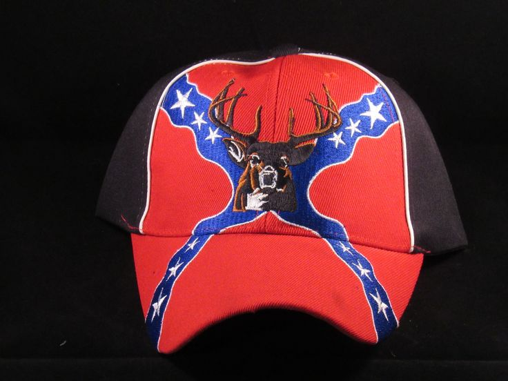 REBEL FLAG AND BUCK DEER HEAD - REBEL BASEBALL HATS CAPS Red/Black