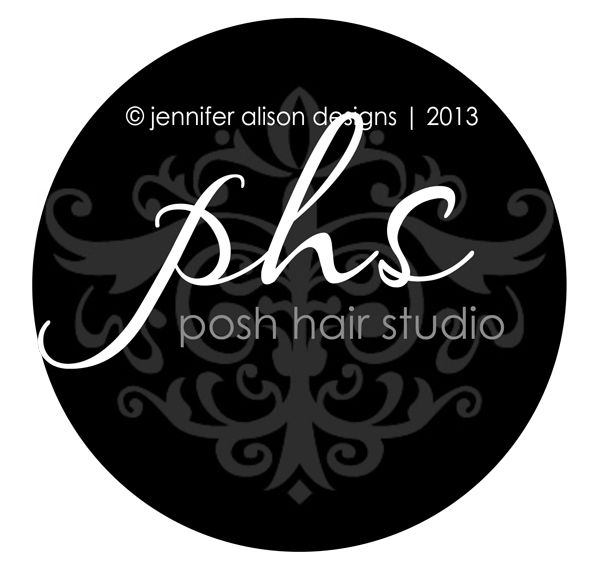 Posh Hair Studio {custom damask business logo design for hair salon} #jenniferalisondesigns.com