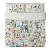 IKEA EIVOR LEVA Duvet cover and pillowcase(s) multicolor (réf.: 80207290)