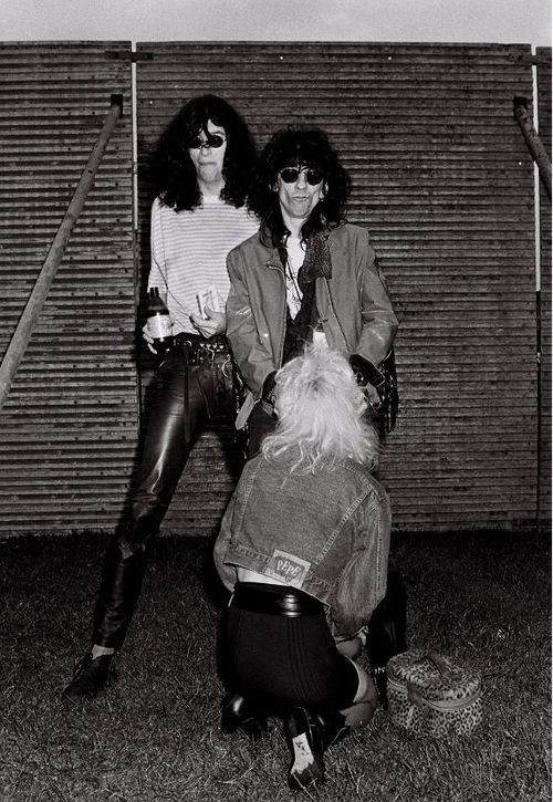 """Joey Ramone (the ramones) and Stiv Bators (the dead boys) and a mysterious lady """"work on Stiv!!"""" - photo by ©Richard Bellia."""