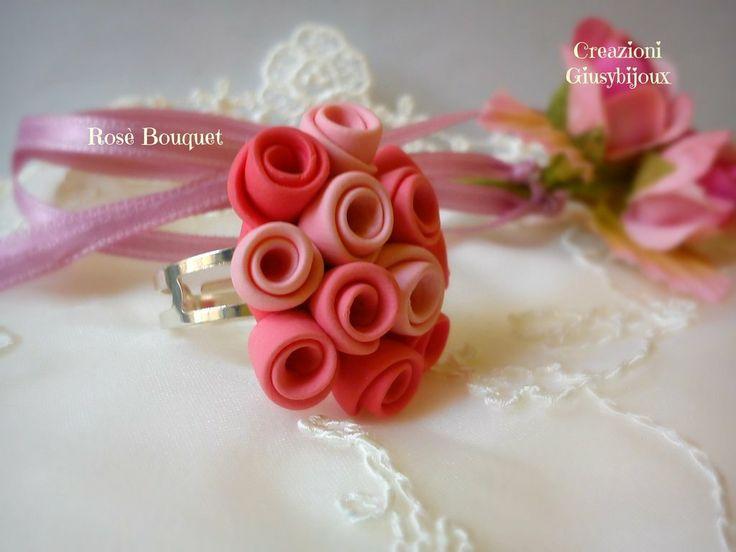 #Anello Rosè Bouquet  in #fimo collezione Bouquet di rose misura regolabile , by @Creazioni e idee Giusybijoux, 15,00 € su misshobby.com