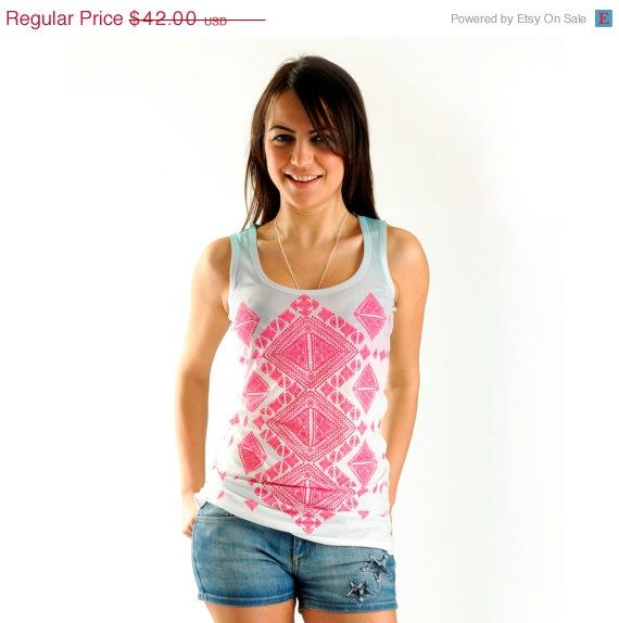 Sale 20 Off NEW Pink Aztec Women T shirt one by nikacollection, $33.60