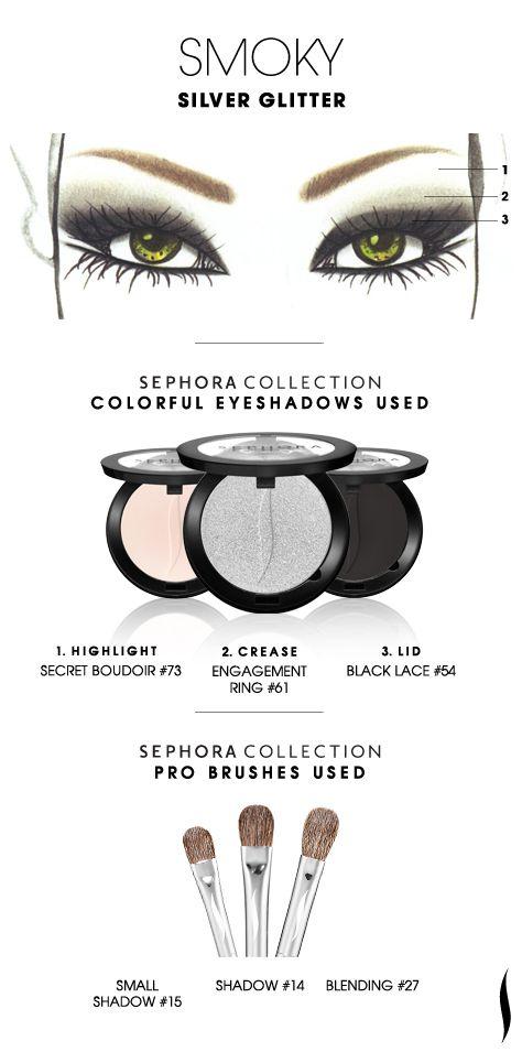 SMOKY: Silver Glitter HOW TO. #sephoracollection #sephora #eyeshadow