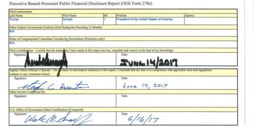 Trump Reports Income Of $594 Million, Net Worth Of At Least $1.1 Billion http://betiforexcom.livejournal.com/25156152.html  Late on Friday, the U.S. Office of Government Ethics released a 98-page financial disclosure form according to which President Trump reported income of at least $594 million for the period from 2016 and through April 2017 and assets worth at least $1.4 billion; he also had personal liabilities of at least $315.6 million to German, U.S. and other lenders as of mid-2017…