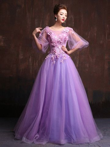 Victorian Style Purple Modest Quinceanera Ball Gown Prom Dress Home Co