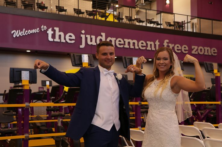 """Meet the Fit Couple Who Got Married at Planet Fitness  Dek:  Because sweat makes you (and your relationship) stronger.  When Stephanie Hughes and Joseph Keith got engaged they knew they wanted to tie the knot at a place that held some emotional significance. For them that place was their local Planet Fitness which is where they first met and fell in love. (Related: 10 New Rules for Wedding Season)  """"Joe first approached me in the PF 360 room and asked if I was using a piece of equipment""""…"""
