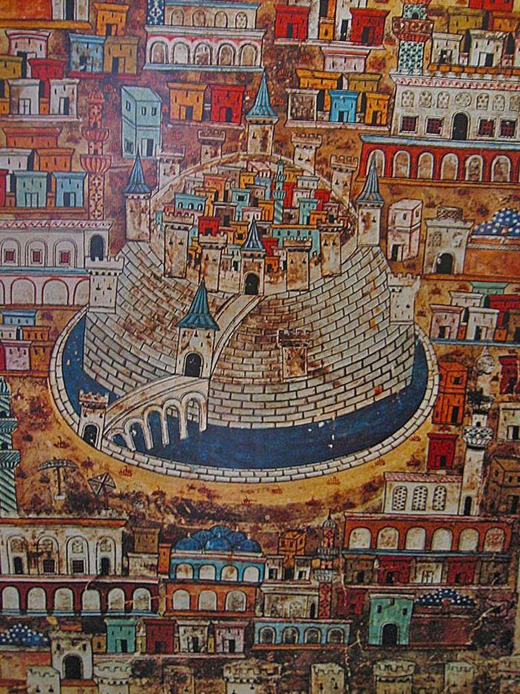 Aleppo #Syria depicted by the great Ottoman cartographer and artist Matrakçı Nasuh. #history #art
