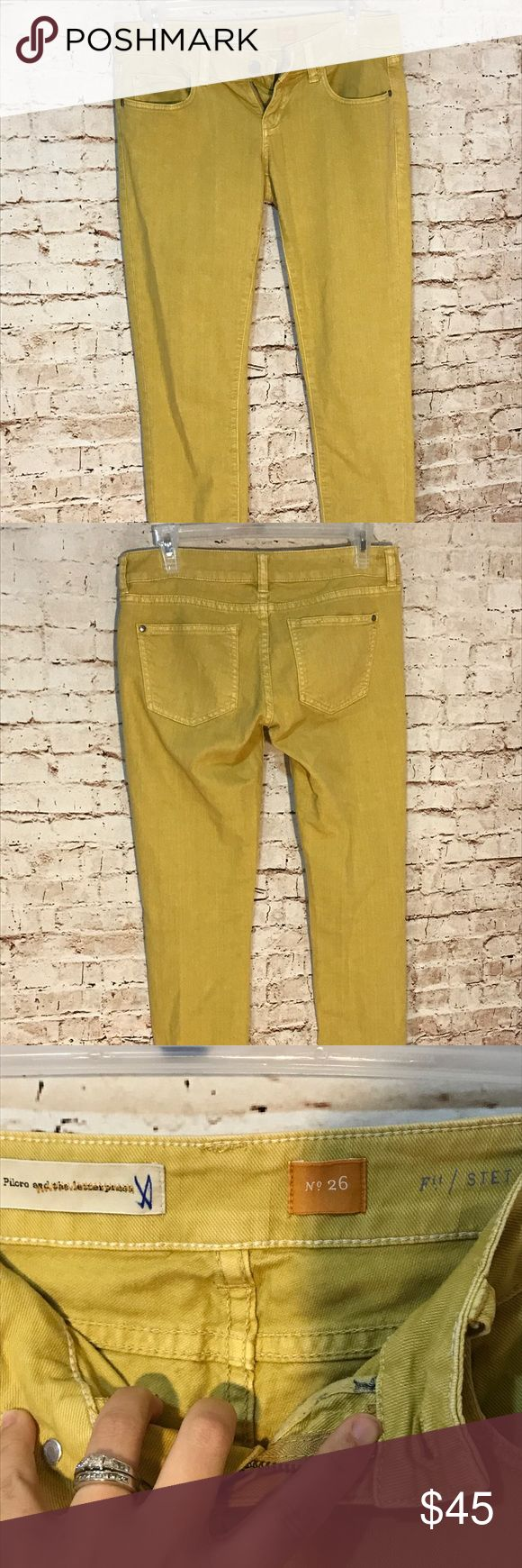 Pilcro and the letterpress mustard skinny jeans Pilcro and the letterpress size 26 mustard color skinny jeans. Soft, buttery material, these feel very worn in but were only worn once or twice! Small scuff on bottom of left leg but I am sure they could be stain washed to remove 😊 Anthropologie Pants Skinny