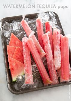 Watermelon Tequila Pops sweetened naturally with Madhava Agave are a must for this summer!