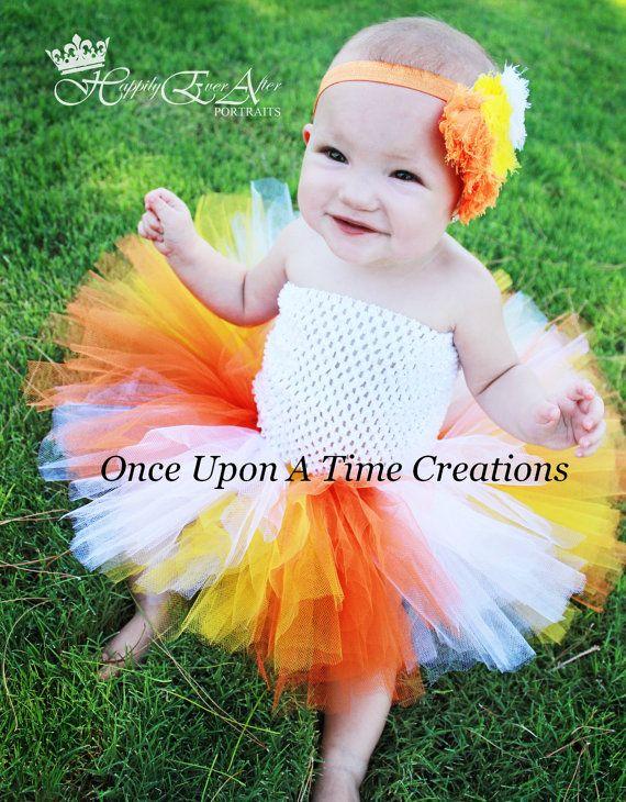 Candy Corn Princess Tutu or Dress - Size 0 3 6 9 12 Months 2T 3T 4T 5 6 7 8 10 12 Halloween Birthday Costume - Orange, Yellow, White