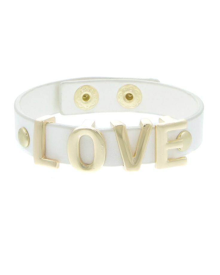 "LEB1317-GOLD WHITE  When was the last time you gave some LOVE? Try displaying these ""LOVE"" message bracelets with a sleeve less blouse. They come in the loveliest colors. Spread the love everyone!    -plated base metal, faux leather  -snap closure  -length: 8"", width: .5"""
