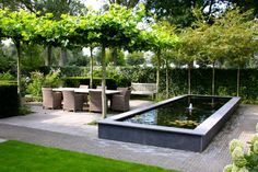 I don't go for water features but this is nice and crisp. Love the living pergola. Like the stone floor.