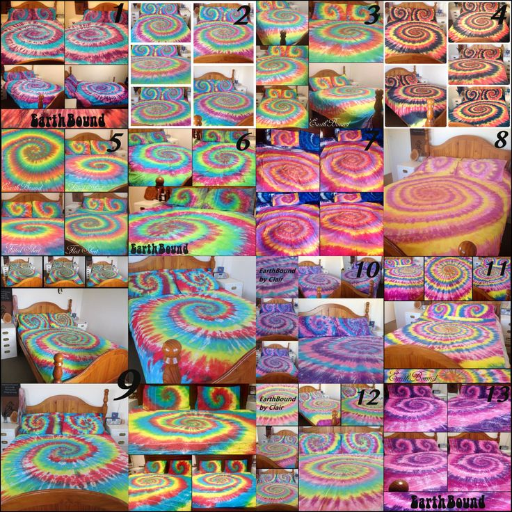 Tie Dye Spiral, Tie Dye Swirl, Tie dye Bedding, doona Cover set, duvet cover set, Sheet set, Rainbow, Single, Double, Queen, King, hippie by EarthBoundTribe on Etsy