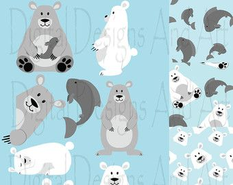 Polar bear Clipart Polar bear clipart Arctic animal clipart