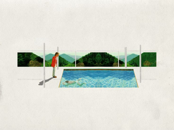 """Collage, 36""""x24""""  Portrait of an Artist (Pool with two Figures), David Hockney  ResorHouse, Mies Van Der Rohe"""