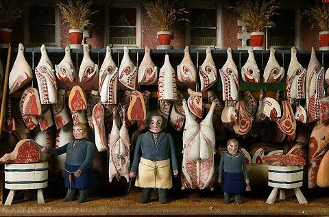 Miniature Victorian-era butcher shops filled with slabs of animal carcass, blood-spattered floors and, of course, staffed by doll butchers with chopper in hand.
