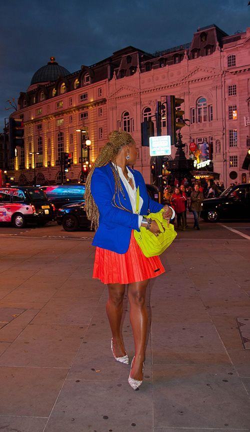 Loving Claire's London Fashion Week Look:  Aqua Blazer Karl Skirt Proenza Schouler Bag Kurt Geiger Heels Fashion Bomb Daily