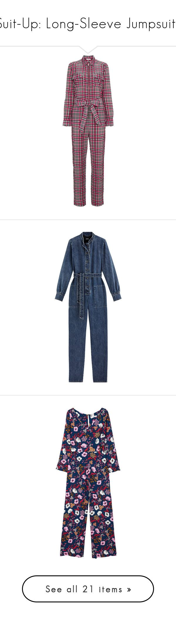 """Suit-Up: Long-Sleeve Jumpsuits"" by polyvore-editorial ❤ liked on Polyvore featuring longsleevejumpsuits, jumpsuits, multi color jumpsuit, jump suit, ganni, multi colored jumpsuit, colorful jumpsuit, dresses, denim jump suit and blue denim jumpsuit"